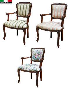 イタリア製 猫足家具 チェア アームチェア 肘付き椅子 ストライプピンク  ストライプグリーン 花柄 100
