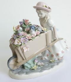 陶器 リアドロ風 置物 女の子 プレゼント 贈り物 お祝い 贈答品用 アンティーク リアドロ風 818-15