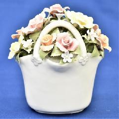 オルゴール 陶器 リアドロ風 結婚お祝い 贈り物 プレゼント フラワーバスケット