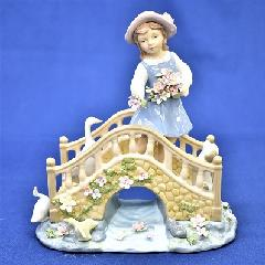 オルゴール 陶器 リアドロ風 結婚お祝い 贈り物 プレゼント ガールオンブリッジ