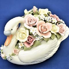 オルゴール 陶器 リアドロ風 結婚お祝い 贈り物 プレゼント ロングスワン