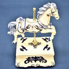 オルゴール 陶器 リアドロ風 結婚お祝い 贈り物 プレゼント グレイズブルーキャロズ