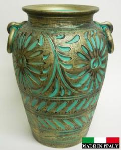 イタリア製 陶器の傘立て グリーン 緑  9383