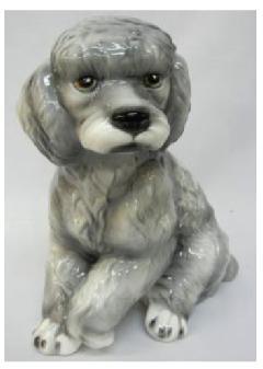 プードル 犬 イタリア製 陶器  H6-37GR