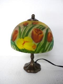 ランプ 照明 ミニランプ ガラスシェード 花柄 トールペイント 033B