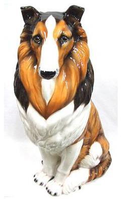 犬の置物 コリー 陶器 イタリア製 インテリア ガーデン 置物 オブジェ-112
