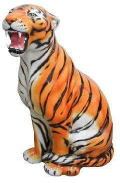 豪華な動物の置物 レオパード ヒョウ 陶器 イタリア製 インテリア ガーデン 置物 オブジェ--103T