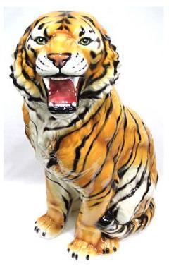 豪華な動物の置物 トラ タイガー タイガー 陶器 イタリア製 インテリア ガーデン 置物 オブジェ--102