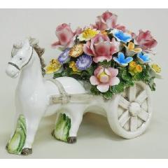 陶花 イタリア製ハンドメイド バスケット 輸入雑貨 陶器 造花 花 ギフト 贈り物 プレゼント オブジェ 置物 素敵 馬 贈り物 ギフト 贈り物 803
