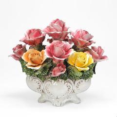 陶花 イタリア製ハンドメイド バスケット 輸入雑貨 陶器 造花 花 ギフト 贈り物 プレゼント 素敵 バラ 薔薇  563
