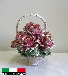 陶花 イタリア製ハンドメイド バスケット 輸入雑貨 陶器 造花 花 ギフト 贈り物 プレゼント 素敵 バラ 薔薇 ピンク 155