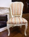 アウトレット   白家具 猫脚チェアー 椅子 ダイニングチェアー ストライプピンク 011SPD