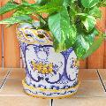 ポルトガル製陶器のプランター 植木鉢 穴あき 鉢カバー PFA-596Y
