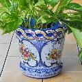 ポルトガル製陶器のプランター 植木鉢 穴あき 鉢カバー PFA-596BL