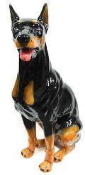 犬の置物 ドーベルマン 陶器 イタリア製 インテリア ガーデン 置物 オブジェ-106