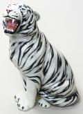 豪華な動物の置物 トラ ホワイトタイガー 白 陶器 イタリア製 インテリア ガーデン 置物 オブジェ--86WSD