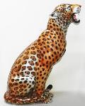 動物の置物レオパード ヒョウ イタリア製 陶器  IMA−H6-123L