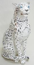動物の置物  白 ホワイト レオパード ヒョウ イタリア製 陶器 104PS