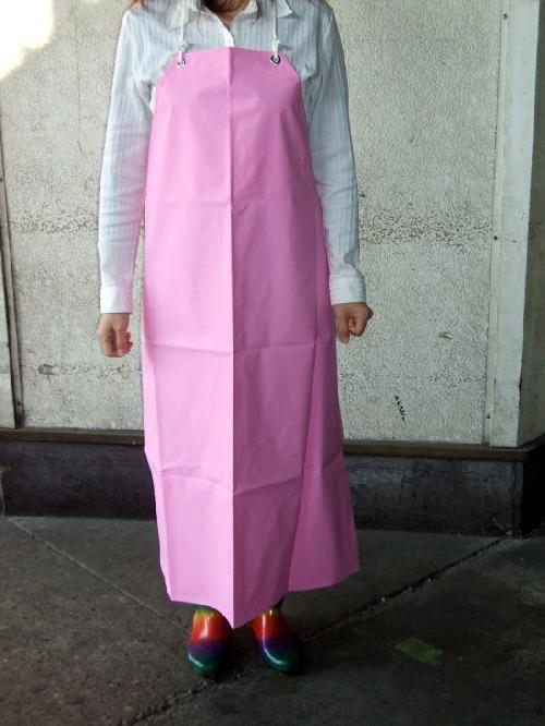 ビニロン胸付防水前掛け (ピンク) 日本製