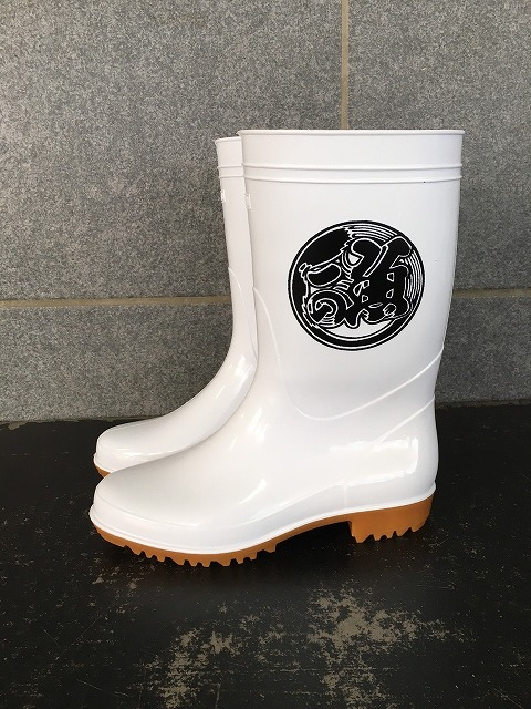 ゾナG5耐油長靴(白)魚河岸プリント�A入り 日本製