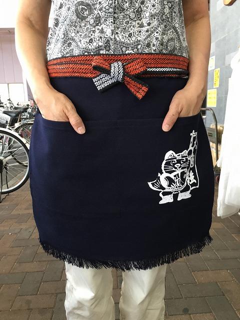 ふさ付二つポケット帆前掛け招き猫マーク入り 幅広52cm