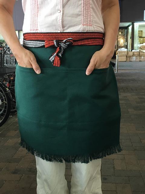 ふさ付き二つポケット無地帆前掛(緑)