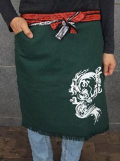 ポケット付き帆前掛 (緑)(プリント入り昇龍)