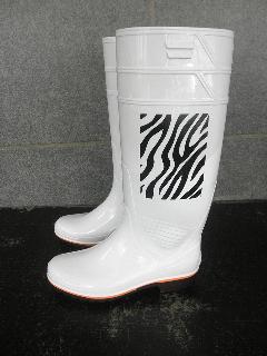 ザクタス耐油長靴  Z-01 (白)日本製ゼブラ柄プリント入り