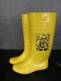 ザクタス耐油長靴  Z-01 (イエロー)日本製 長靴を履いた招き猫入り