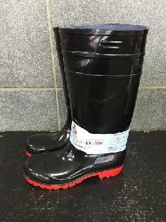 安全耐油長靴ロングタイプ   (ブラック/レッド)中国製