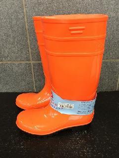 安全耐油長靴ロングタイプ   (オレンジ/ブラック)中国製