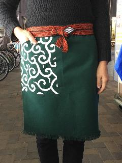ポケット付き帆前掛 (ポケット部分唐草プリントのみ)緑色
