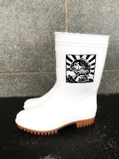 ゾナG5耐油長靴(白)鯛プリント入り 日本製
