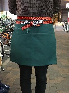 三つポケット・チャック付き帆前掛(緑) 綿100%