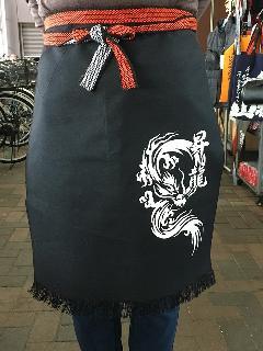 ポケット付き帆前掛 (黒)(プリント入り昇龍)