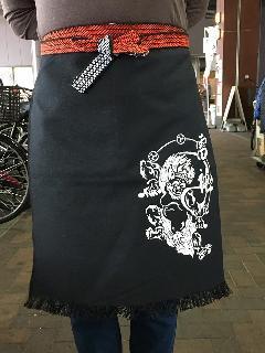 別染ポケット付き帆前掛 (黒)(プリント入り雷神)