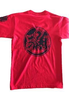 魚河岸プリント入りTシャツ(赤)半袖