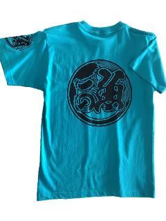 魚河岸プリント入りTシャツ(ターコイズ)半袖
