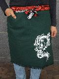 別染ポケット付き帆前掛 (緑)(プリント入り昇龍)