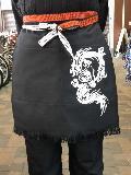ふさ付き二つポケット帆前掛(黒)昇龍 綿100%