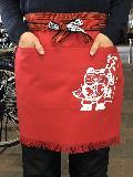 ふさ付二つポケット帆前掛け(赤) 招き猫マーク入り 綿100%