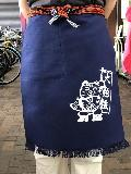 ポケット付き帆前掛 (紺)招き猫マーク入り 綿100%