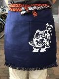ふさ付二つポケット帆前掛け(紺) 招き猫マーク入り 綿100%