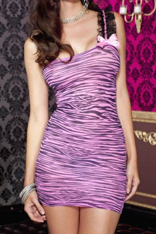 ピンク/黒 ゼブラ柄 ワンショルダー×レーストリム クラブドレス ML56081