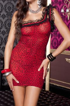 赤/黒 レオパード柄 ワンショルダー×レーストリム クラブドレス ML56080