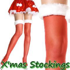 ML4142[【クリスマス!サンタ ストッキング】 ふわふわホワイトファー付き シアータイハイストッキング 赤/白]