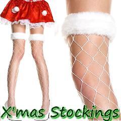 ML4929[【クリスマス!サンタ ストッキング】 ふわふわホワイトファー付き ビッグダイアモンドネットタイハイストッキング 白]
