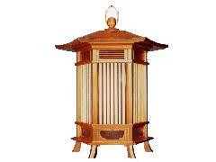木製六角型吊灯籠【一対】(063-05)