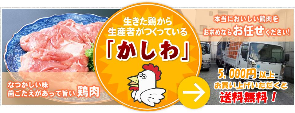 生きた鶏から生産者がつくっている「かしわ」なつかしい味の鶏肉 歯ごたえあって旨い鶏肉 本当においしい鶏肉をお求めならお任せください