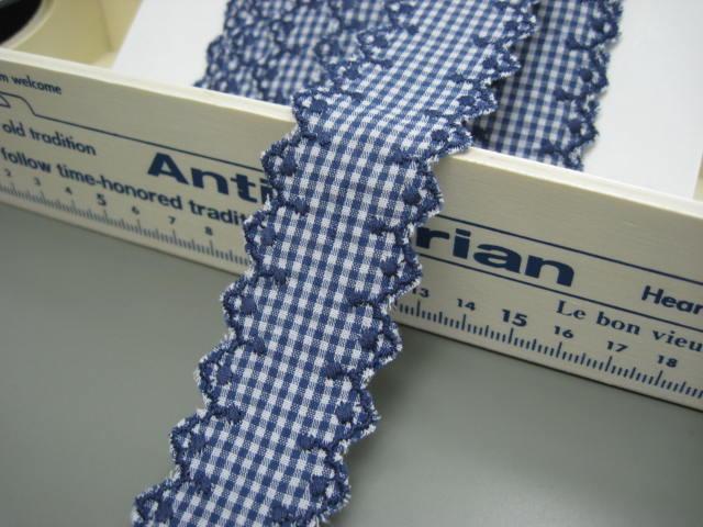 コットンレース 綿レースチェック柄 紺色 切り売り 約35mm幅 商品番号  8414-4